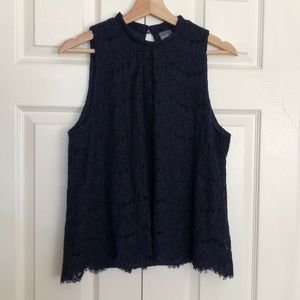 Tops - Navy Blue Lace Sleeveless Top